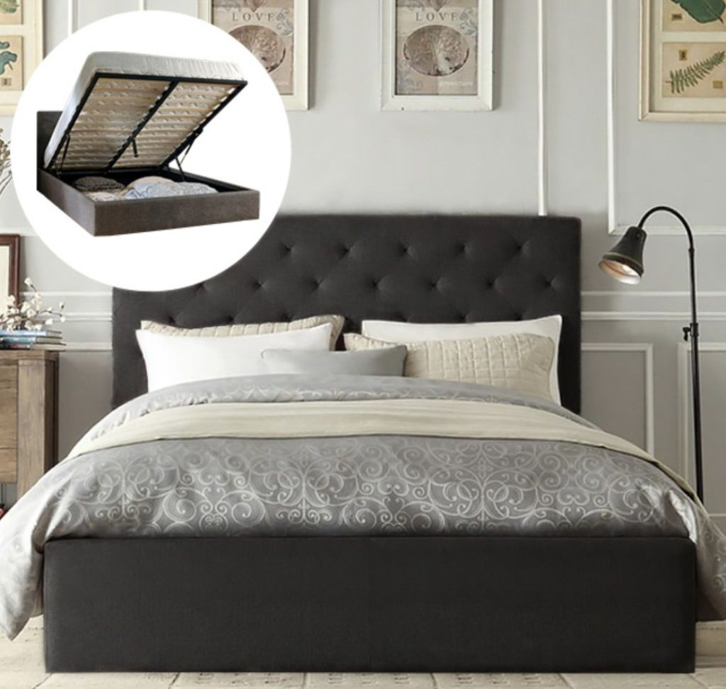 Lester Linen Gas Lift Bedframe Charcoal King