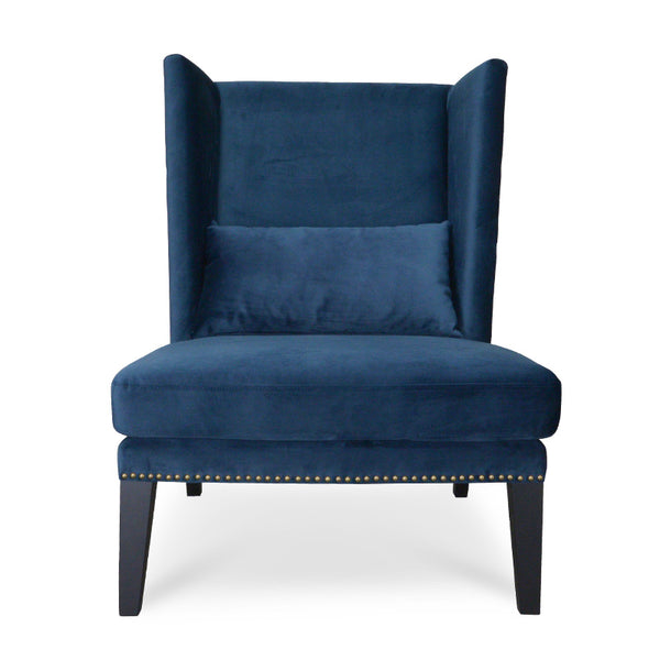 Victoria Winged Armchair  Navy Blue Velvet