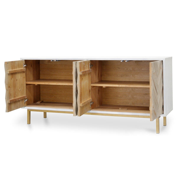 Ethan Reclaimed Timber and Copper Sideboard Natural and White