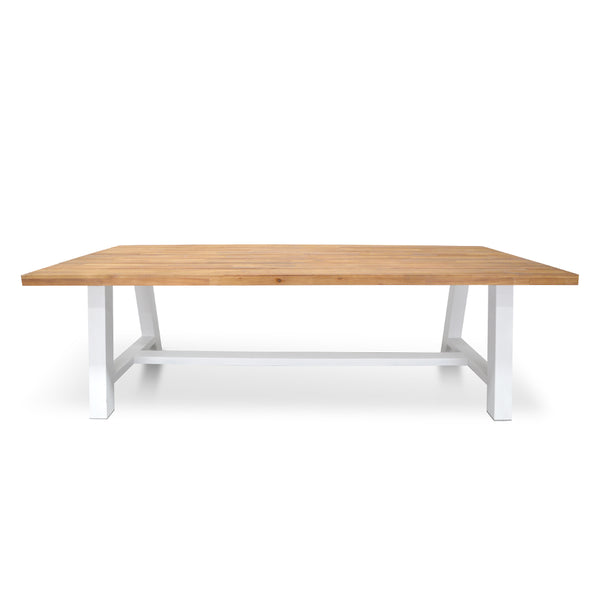 Elijah Acacia and Steel Table Natural and White