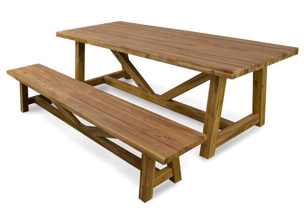 Vincent Acacia Indoor / Outdoor Dining Table (Natural / White) - Free Shipping - Darkhorse Creations