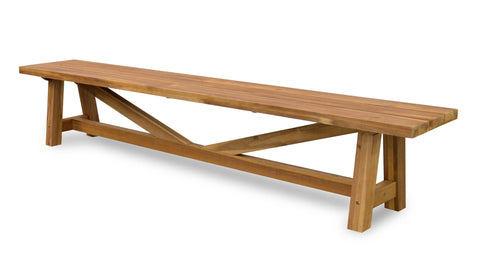 Vincent Acacia Indoor / Outdoor Bench Seat (Natural / White) - Free Shipping - Darkhorse Creations