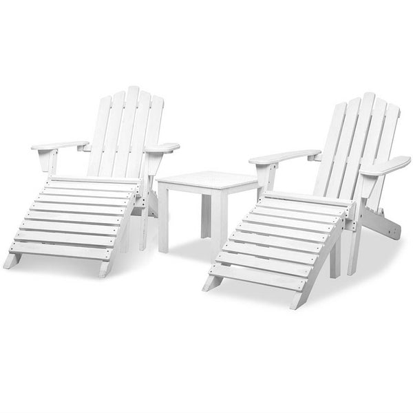 Adirondack Folding Wood Outdoor Set 5 Piece (White) - Free Shipping - Darkhorse Creations