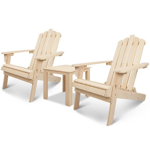Adirondack Wood Outdoor Set 3 Piece (Natural) - Free Shipping - Darkhorse Creations