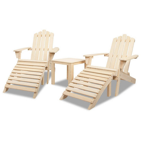 Adirondack Wood Outdoor Set 5 Piece (Natural) - Free Shipping - Darkhorse Creations