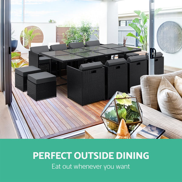 Pacific Rattan Outdoor Dining Set 13 Piece (Black) + 2 Cushion Sets- Free Shipping - Darkhorse Creations