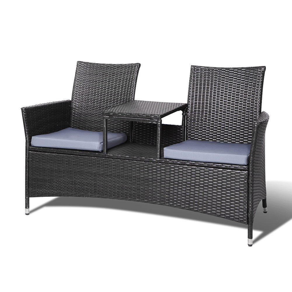 Calypso Outdoor Bench Set Black