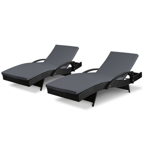Gardeon Outdoor Sun Lounge Chair with Cushion - Black