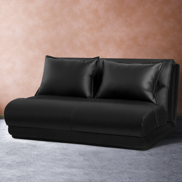 Lounge Sofa DOUBLE Floor Recliner Chaise Chair Folding PU leather Black