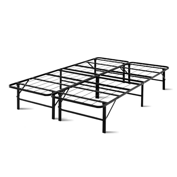 Foldable Double Metal Bed Frame  Black