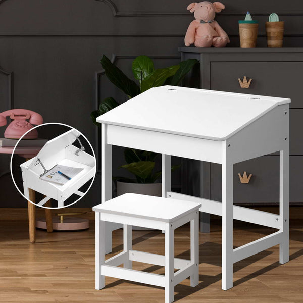Kids LiftTop Desk and Stool  White