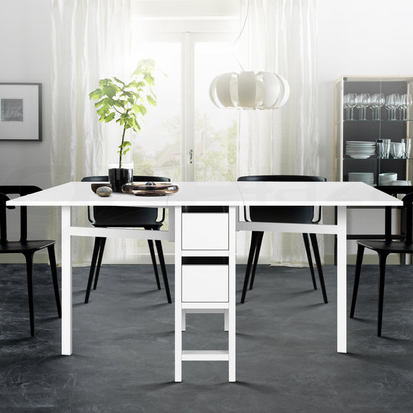 Fold Down Table 2 Draw White