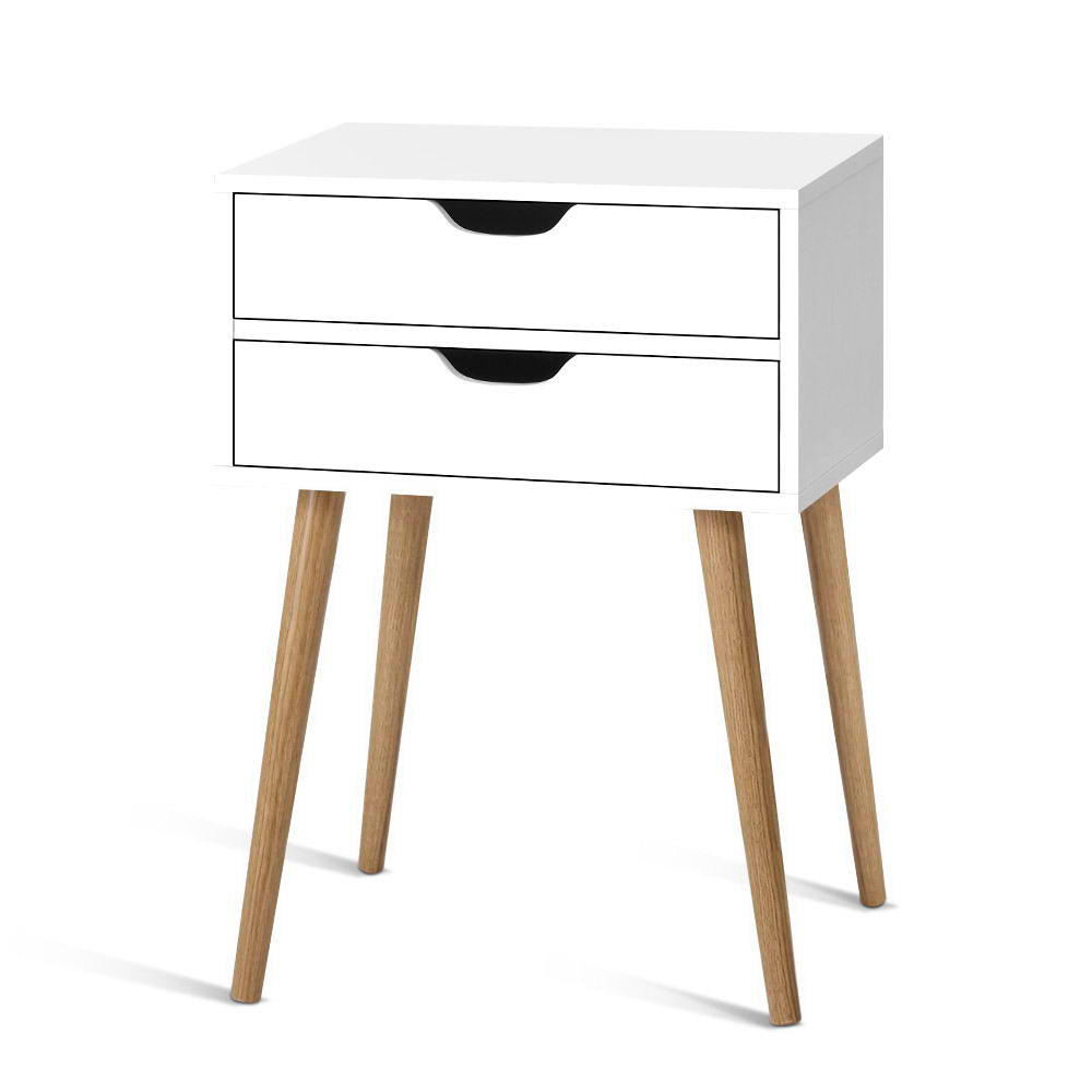 Bedside Tables Drawers Side Table Nightstand Wood Storage Cabinet White