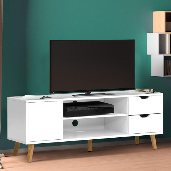 TV Cabinet Entertainment Unit Stand Wooden Scandinavian 120cm White
