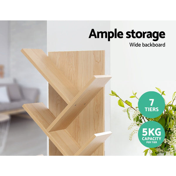 Display Shelf 7Shelf Tree Bookshelf Book Storage Rack Bookcase Natural