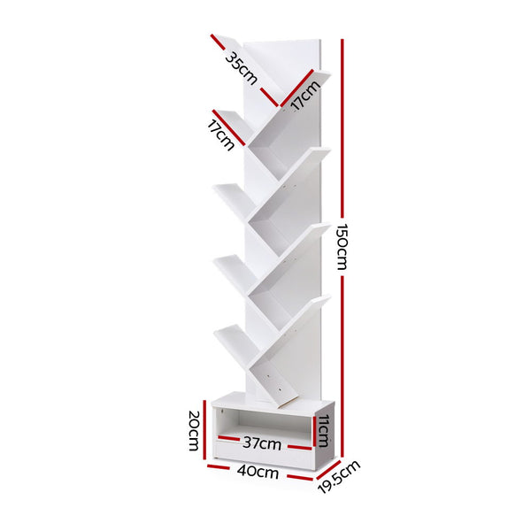 Display Shelf 9Shelf Tree Bookshelf Book Storage Rack Bookcase White