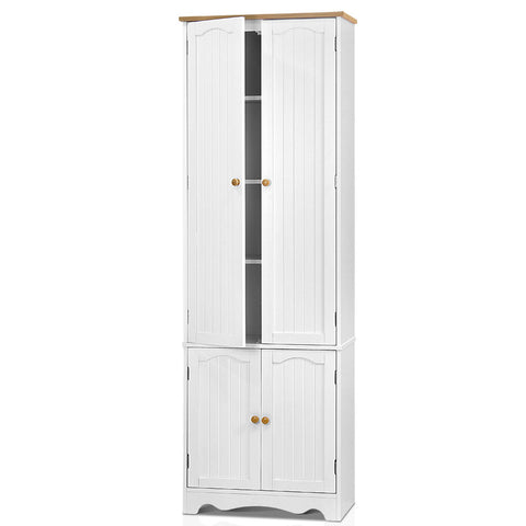 1.8m Tall Six-Tier Pantry Cupboard White - Darkhorse Creations
