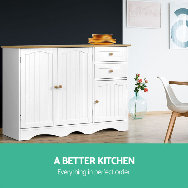 Kitchen Storage Buffet with Shelf - White and Light Brown - Darkhorse Creations