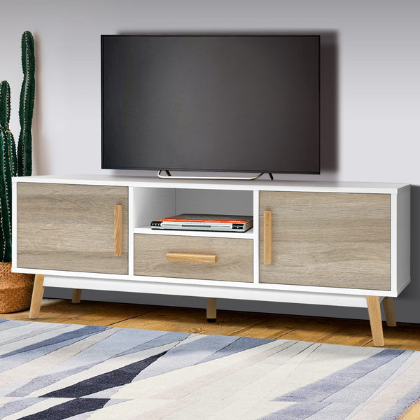 Wooden Entertainment Unit  White and Wood