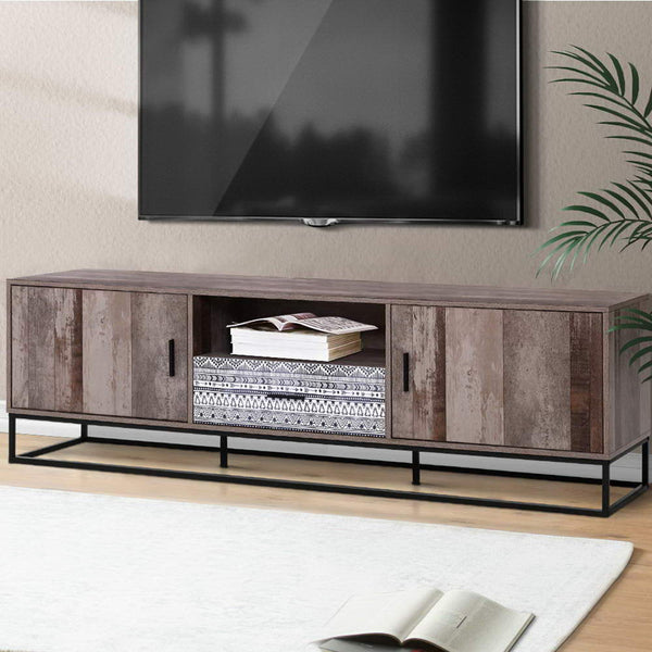 TV Cabinet Entertainment Unit Stand Storage Wooden Industrial Rustic 180cm