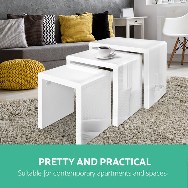 Nesting Tables Set of Three (White) - Free Shipping - Darkhorse Creations