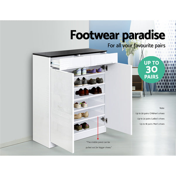 High Gloss Shoe Cabinet White