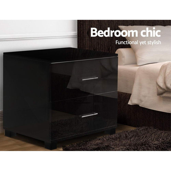 Sleek Gloss Bedside Table (Black) - FREE SHIPPING - Darkhorse Creations