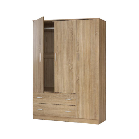 Wardrobe Bedroom Clothes Closet 3 Doors Storage Cabinet Organiser Armoire