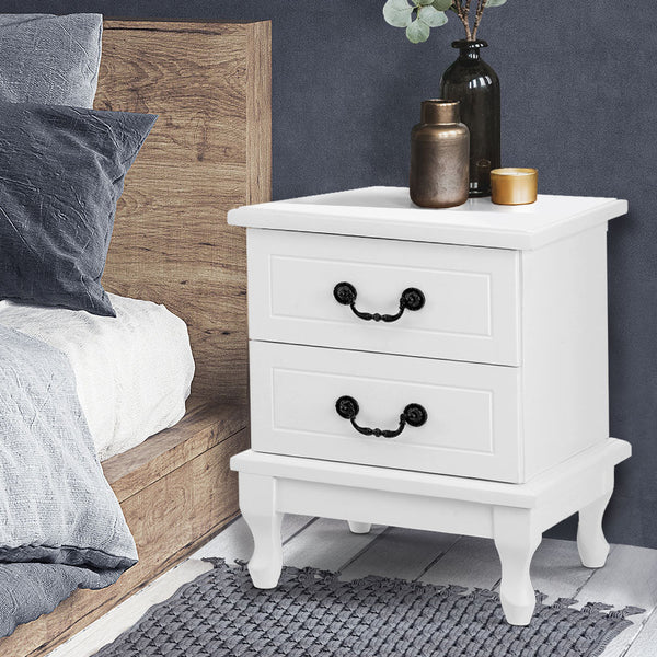 Bedside Table Storage Lamp Side Nightstand Unit Cabinet Bedroom White