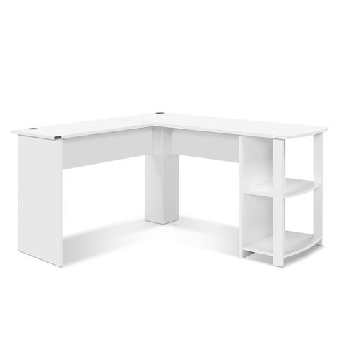 Office Computer Desk Corner Student Study Table Workstation LShape Shelf White