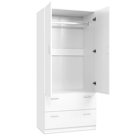 2 Doors Wardrobe Bedroom Closet Storage Cabinet Organiser Armoire 180cm White