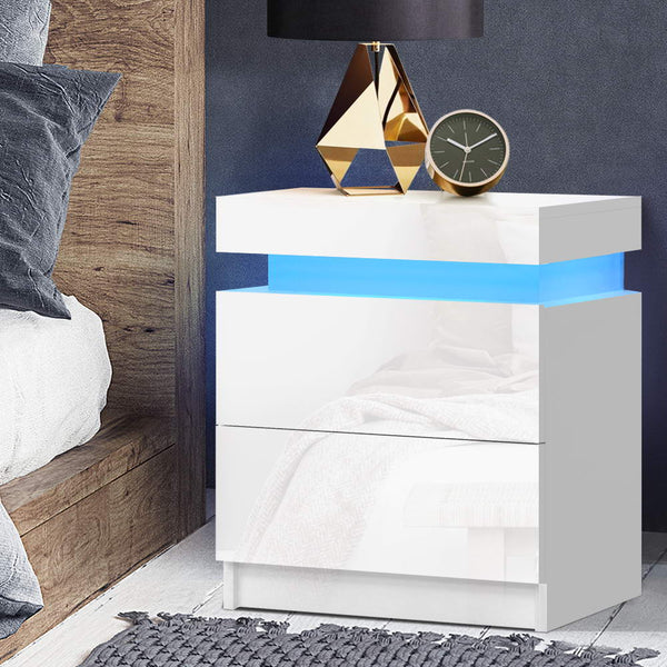 Bedside Tables Side Table Drawers RGB LED High Gloss Nightstand White