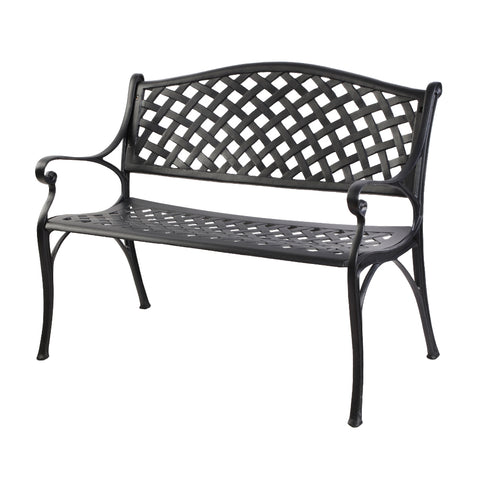 Garden Bench Outdoor Seat Chair Cast Aluminium Park Black