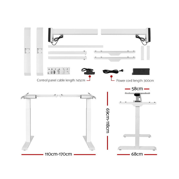 Electric Motorised Height Adjustable Standing Desk  White Frame with 160cm White Top