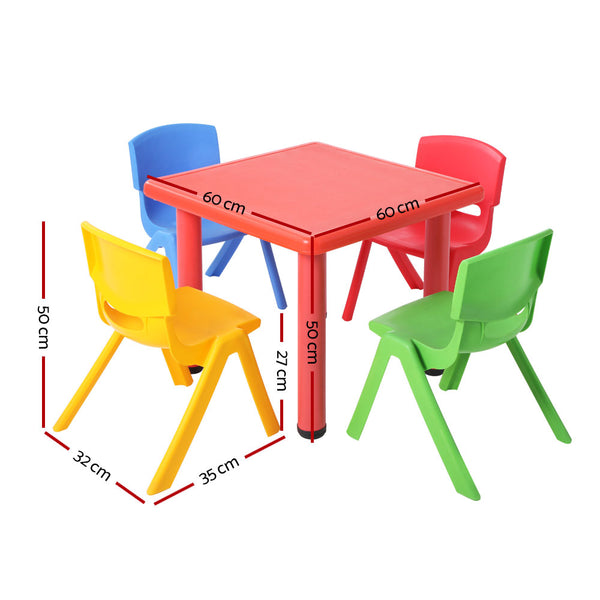 5 Piece Kids Table and Chair Set  Red