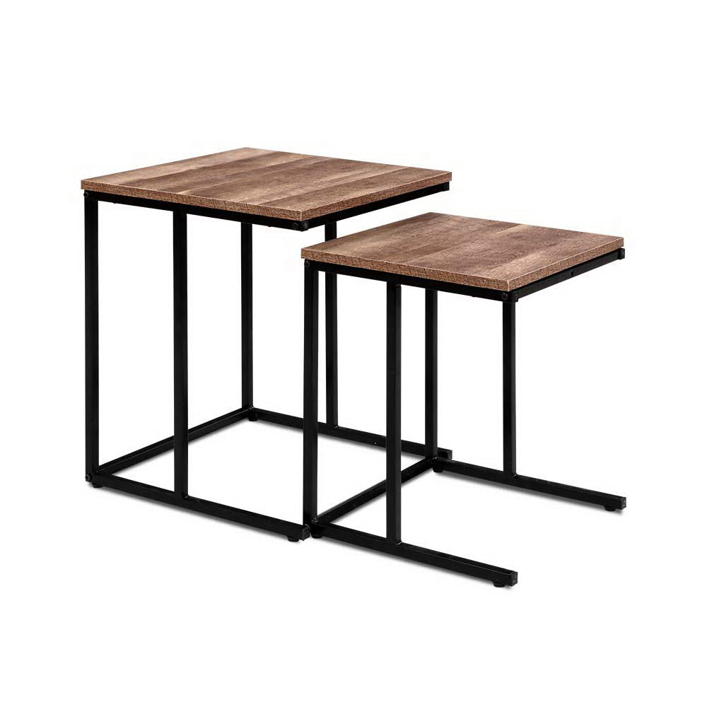 Coffee Table Nesting Side Tables Wooden Rustic Vintage Metal Frame