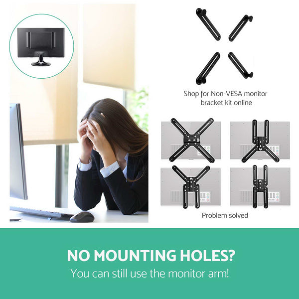 2 Arms Adjustable Monitor Screen Holder  Black