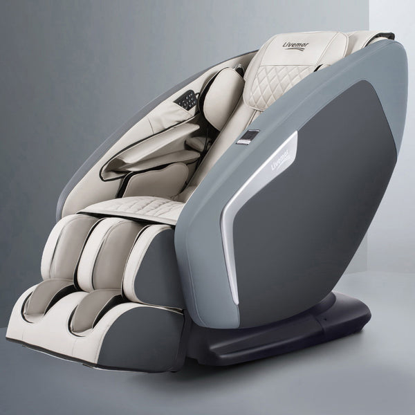 Livemor 4D Electric Massage Chair Shiatsu SL Track Full Body 58 Air Bags Navy Grey