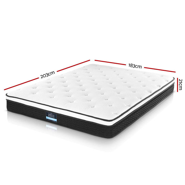 King  Mattress Euro Top Bed Bonnell Spring Foam 21cm