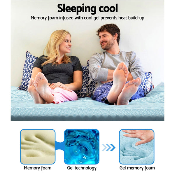 Cool Gel Memory Foam Mattress Topper Bamboo Cover 8CM 7Zone Double