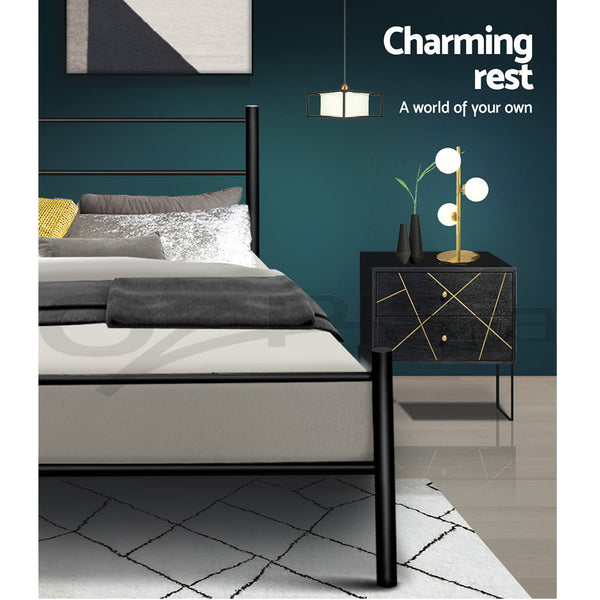 Metal Single Bed Frame  Black