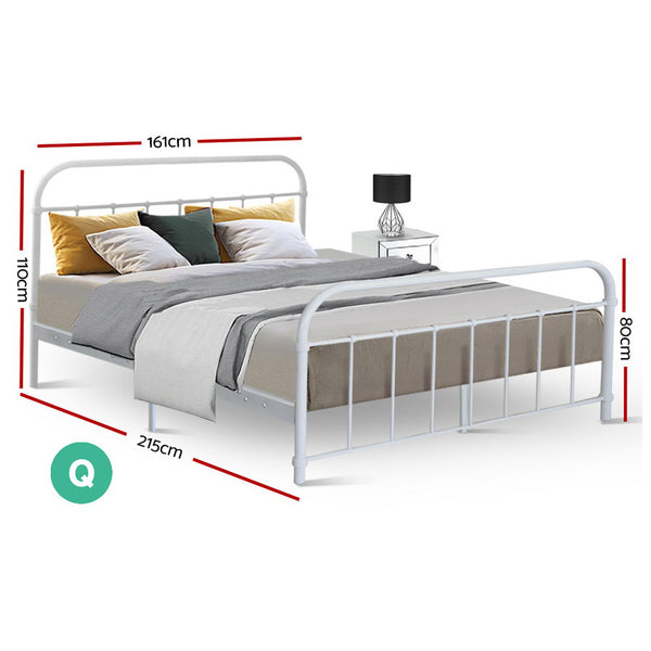 Queen  Metal Bed Frame  White