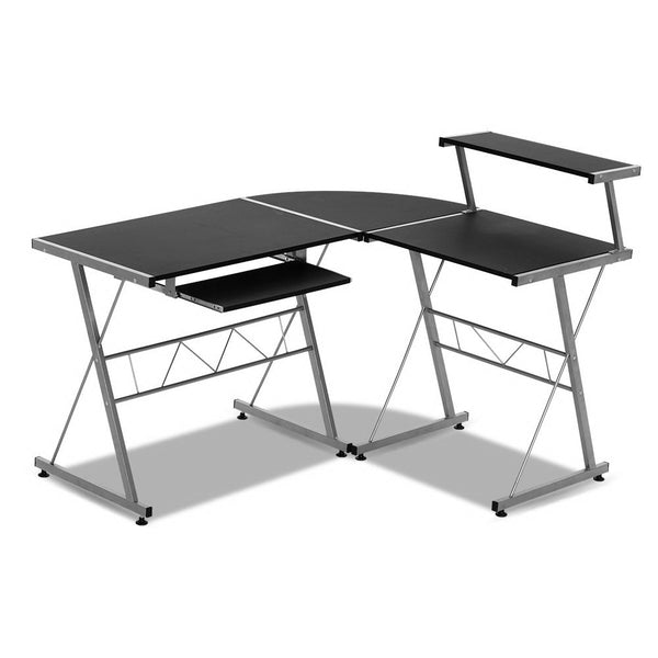Corner Metal Pull Out Table Desk  Black