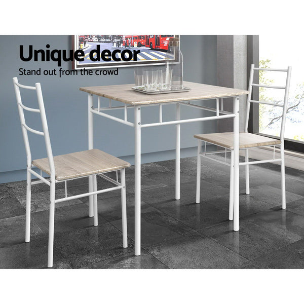 3 Piece Dining Set  Natural