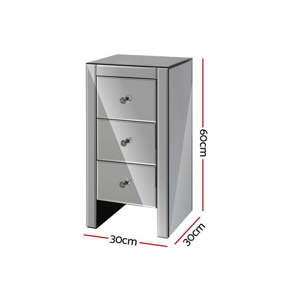 Aviella Small Mirrored Bedside Table grey
