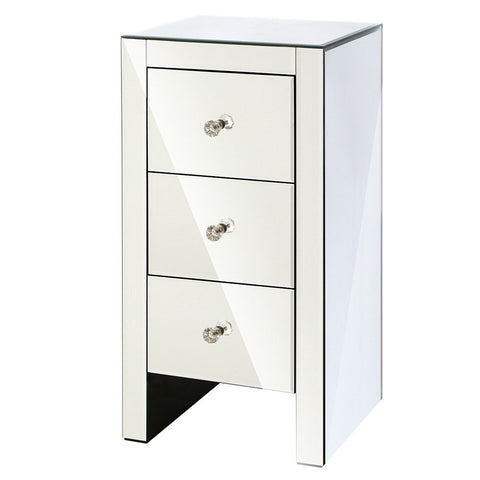 Aviella Small Mirrored Bedside Table Clear