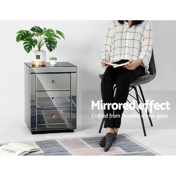 Avia Mirrored Bedside Table (Grey) - Free Shipping
