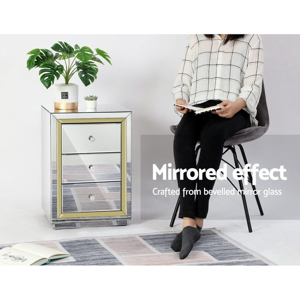 Ava Mirrored Bedside Table Gold Edge