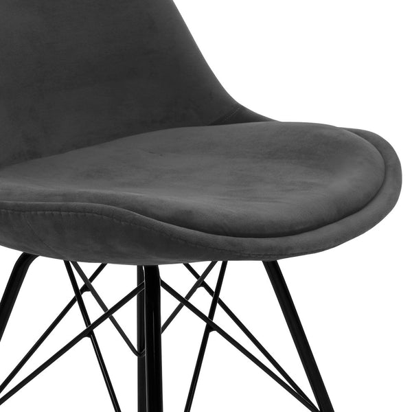 2x  Dining Chairs Eames Chair DSW Cafe Kitchen Velvet Fabric Padded Iron Legs Grey