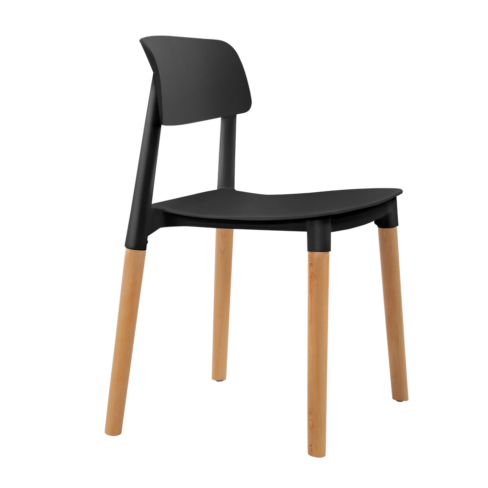 4x Belloch Replica Dining Chairs Kichen Cafe Stackle Beech Wood Legs Black